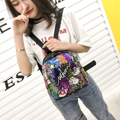 Brand Mini Backpack with Cute embroidery Sequined backpack for Women Girls Travel bag Unique backpack cool  School bag