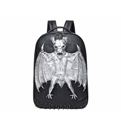 3D Leather Backpack Fashion Men women Gothic Steampunk Unique backpack cool bag steampunk fashion Bat Backpack Computer Laptop Bags Travel Bags Girls School Punk Rivets Halloween Bag