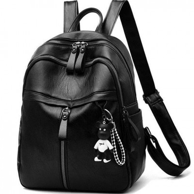 black Women Backpack High Quality soft Leather cute Backpacks for Teenage Girls backpack school Shoulder Bag small girls backbag
