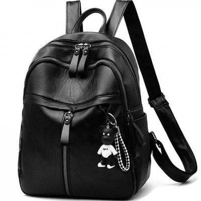black Women Backpack High Quality soft Leather cute Backpacks for Teenage Girls backpack school Shoulder Bag small girls backbag
