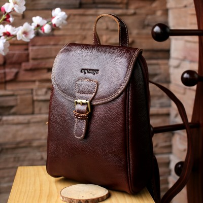 Leather Retro college Backpack For Women