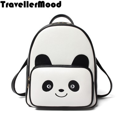 Women backpack new fashion PU leather cartoon panda printing vintage travel bags school bags TravellerMood