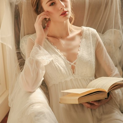 Ladies Nightgown Lace Long Nightdress Vintage Woman  Lace Sleeve Summer Nightgown Dress INS Fashion Sleepwear Fairy