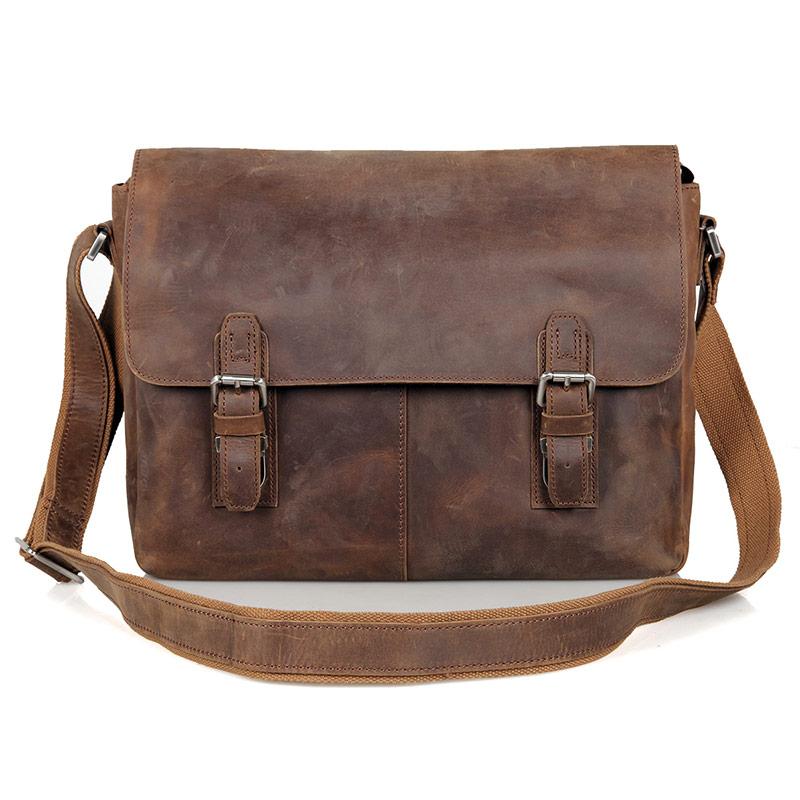 "J.M.D Crazy Horse Leather 17/"" Men/'s Briefcse Bag Laptop Messenger Hand Bag Brown"