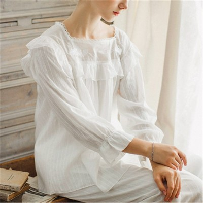 2PCS Women Girl Spring Summer Autumn Cotton Pajama Sets Long Sleeve White Sleepwear Female Homewear Indoor Clothing Negligee