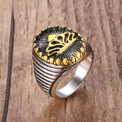Mprainbow Mens Jewelry Stainless Steel Ring Classic Gothic Crown Signet Band Black Gold US Size 9-12