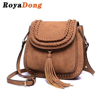 RoyaDong 2019 Shoulder Bags Small Crossbody Bag For Women Handbags PU Leather Rivet Tassel Women Messenger Bag With Weave