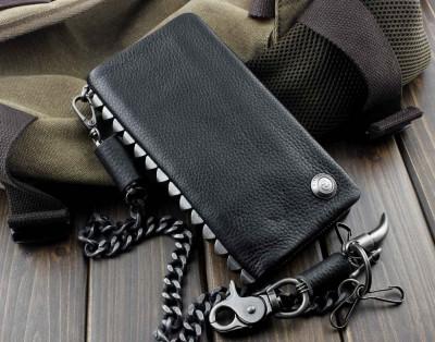 New Heavy Metal Rivet Men Vintage Biker Rock Zipper Wallet With Chain