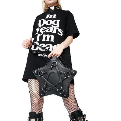 Punk Gothic Five Star Handbag Women Girl Black PU Shoulder Bag Vintage Harajuku Pentagram Ladies Messenger Bags 2019 New