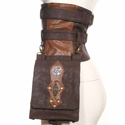 Corstory Vintage Retro Waist Belt Clutch Steampunk Bags Women and Men Women Bag Burlesque Cosplay Prop