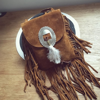 tassel bags suede Celebrity handbags vintage small crossbody bag feather decoration messenger shoulder bag Gothic phone bolsas