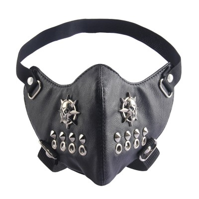 Plague Mask Steampunk Plague Doctor Mask Punk Cycling Masks Bicycle Windproof Dust Warm Men Face Masks Unisex Fashion Black PU Leather Cool Skull Rivet Masks