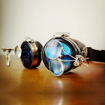 Original Blue Steampunk Goggles Sunglasses Steampunk Props Cosplay Props Bar for sale Vintage