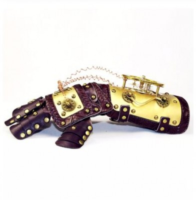 High Qualilty Vintage Industrail Age Mechanical Gears Steampunk mechanical Leather gloves arm dance party party props