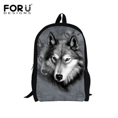 FORUDESIGNS Children's 3D Animal Wolf Backpack,Cool Pet Dog Husky Printing School Backpacks for Teenagers Boys,Kid Tiger Bagpack