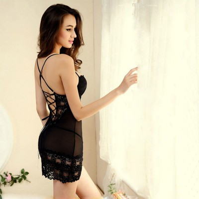 M~XXXL Core Sexy Sleepwear Female Temptation  Dress Womens Summer Lace Nightgown Spaghetti Strap Belt Underwear