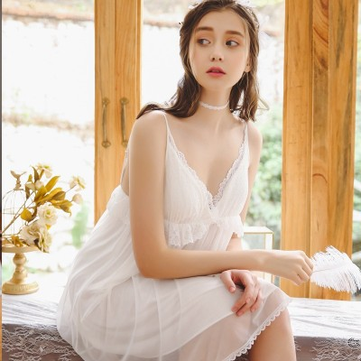 Night Skirt Woman Restore Ancient Ways Sweet Lace Deep V Lotus Leaf Skirt Lace Pajamas Short Sleeve Night Skirt