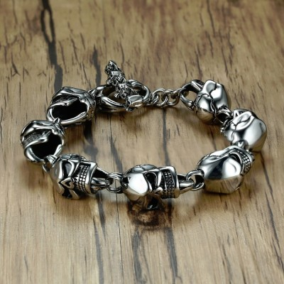 Men Skull Bracelets Stainless Steel Skulls Head Chain Bangle Bracelet Gothic Punk Biker Jewelry Silver Color pulseira calavera