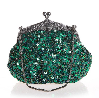 Green Chinese Women's Beaded Sequined Wedding Evening Bag Clutch handbag Bride Party Purse Make up Bag