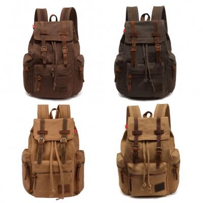 Vintage Men Casual Canvas Leather Backpack Rucksack Satchel Bag School Bag 5 Color  BS88