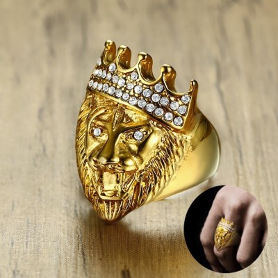 Mens Hip Hop Gold Tone Roaring King Lion Head and Crown CZ Ring for Men Rock Stainless Steel Pinky Rings Male Jewelry