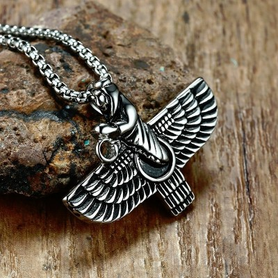 Persian Iran Farvahar Farohar Zoroastrian Wing Pendant Necklace for Men Vintage Persia Faravahar Pahlavi Steel Male Jewelry 24