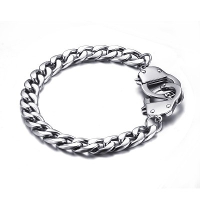 Mens Handcuffs Bracelet Stainless Steel Cuba Link Chain Pulseras Hombre bileklik Fashion Men Bike Jewelry Braslet Armband