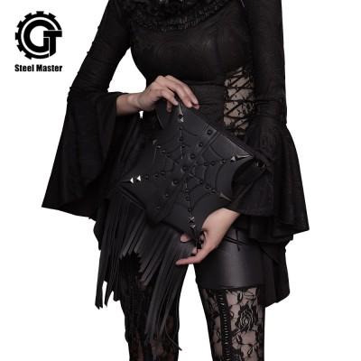 Gothic Steampunk Retro Rock Bag Fashion Men Women Tassel Shoulder Bag Phone Case Holder Black PU Leather Messenger Bag 2019