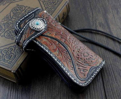 Mens Handmade Vintage Motorcycle Biker Trucker Long Money Card Leahter Carved Wallet Purse W Chain