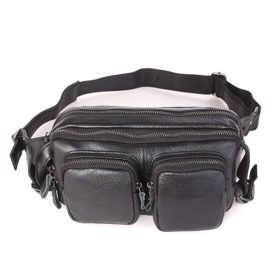 Leather Fanny Pack Retro Classic Genuine Leather Men's Waist Bag Fanny Pack Black Cheap Man Purse