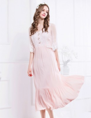 Elegant pink long home dress lady  female Lace embroidery half sleeve  nightgown Women V-neck sleepwear