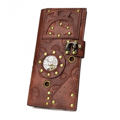 Steampunk Brown Female Long Gear Movement Wallets Leather Men Women Buckle Rivet Coin Purse European Card Holder Mobile Phone Bag