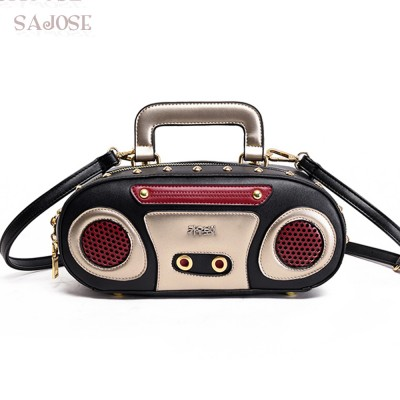 SAJOSE Rock style Retro Radio Shape Handbags Women Messenger Shouder Bags Leather Womens Fashion Rivet Punk Rock Tote Bags