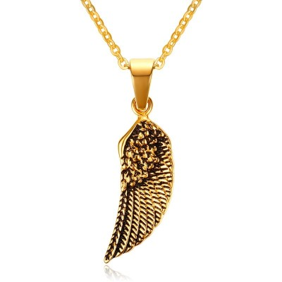 Vintage Gold Tone Stainless Steel Mens Guardian Angel Wing Pendant Choker Necklace Women Jewelry Collier with 24 inch Chain