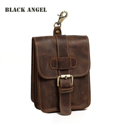 Leather Fanny Pack Vintage Genuine Leather Cowhide men casual waist pack bag phone bag small travel fanny belt bag