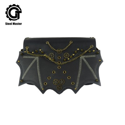 Fashion Rivets Punk Style Hot Gothic Men Women Shoulder Bag Vintage Brass Rivet Chain Bat Flap Leather Pocket Handbag Steampunk