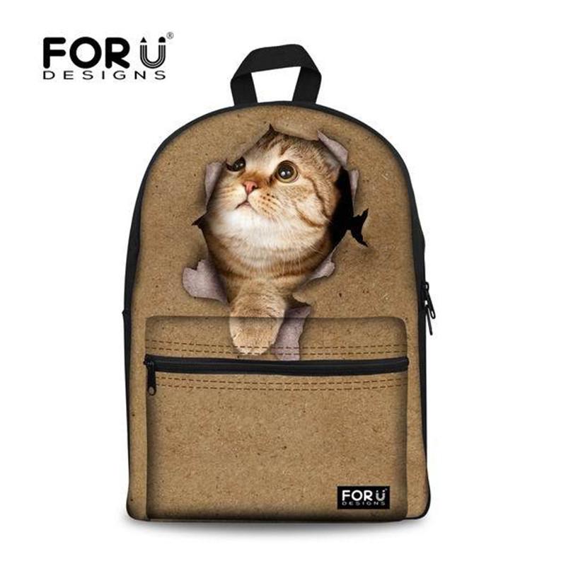 27fab2daf1 FORUDESIGNS New Style 3D Animal Printing School Bags Cute Cat ...