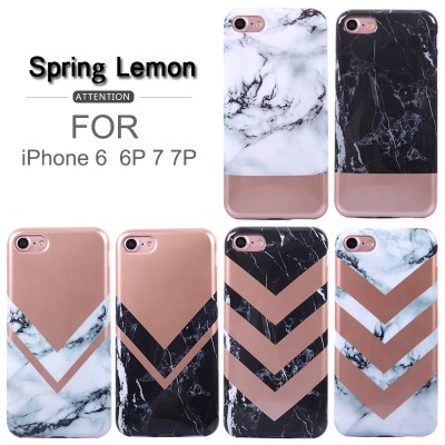 Cover Case For iPhone 7 Case Luxury Rose Gold Mosaic Marble Splice Style Soft Cover Case For iPhone 6 6S 6PLUS 6S PLUS 7PLUS 8 8PLUS