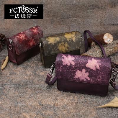 2019 Vintage Women Shoulder Bag Genuine Leather Print Flower Messenger Bag Casual Handmade Cowhide Bag
