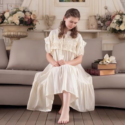 Nightwear Women Vintage Sleepwear Summer Lace Cotton Nightgown Sweet Princess Sleepwear Long Dress 2019 NEW
