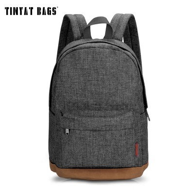 TINYAT Men Male Canvas College Student School Backpack Casual Rucksacks Laptop Travel Bag Backpacks Women Mochila T101 Gray