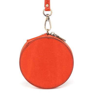 New Design Genuine Leather Round Coin Purse Women RFID Wallet Unisex Credit Card Holder Wallet Men Women Mini Purse