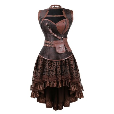 Womens Sexy Gothic Steampunk Corset Dress Leather Overbust Corsets and Bustiers Skirt Party Waist Trainer
