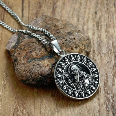Saint Benedict of Nursia Medal Pendant Necklace for Men Roman Catholic Christian Religious Exorcism Blessing Male Jewelry 24