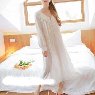 Cotton Nightgown Vintage Royal Sleepwear Long-sleeve Women Nightwear  White Pink Nightdress Comfortable fabrics