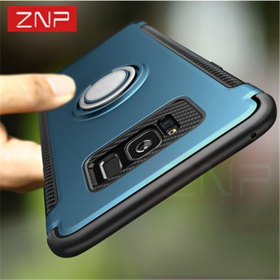 ZNP Luxury Case For Samsung Galaxy S7 Edge S7 S8 Case Metal Ring Holder Combo Phone Cover For Samsung S8 S8 Plus Phone cases