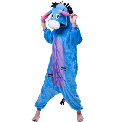 Unisex Onesie  Adult Women Kigurumi Animal Eeyore Pyjamas Flannel Pajamas Winter Warm Soft Onepiece Sleepwear Cartoon Jumpsuit
