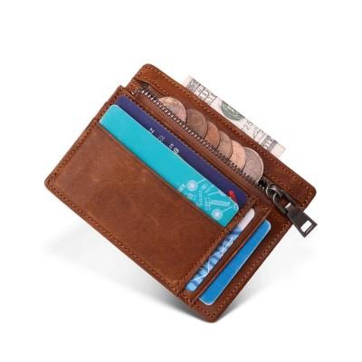 Genuine Leather Men Credit ID Card Holder RFID Coin Purse Card Holder Wallet Money Case Men Small Wallet Male Portomonee