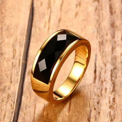 Mens Black Carnelian Stone Rings Gold Tone Stainless Steel Wedding Engagement Band for Men Male Jewelry Anel Aneis Masculinos