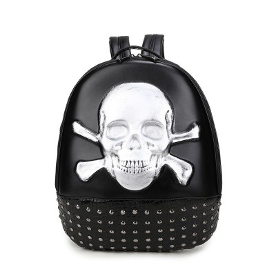 3D Skull Backpack Shoulder Bags for Men Gothic Steampunk Unique backpack cool bag steampunk fashion School Backpack Gothic Casual Fashion Rivets Leather Backpack for Boy Guys